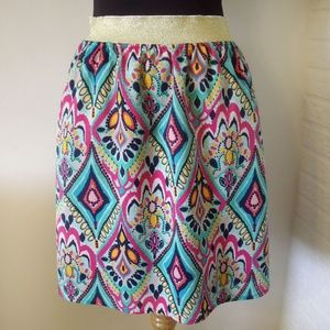 Lilly Pulitzer Vivid Pattern Skirt with Gold Waist